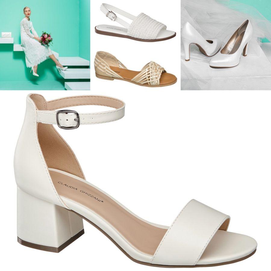 Damska obuv lodicky  Eur biele sandalky na vysokom podpatku   eur biele sandalky na rovnej podrazke  Eur kremovo zlatiste baleriny  Eur